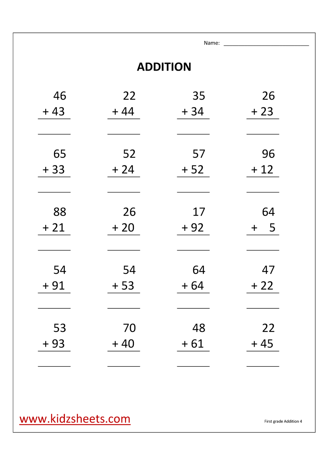 Kidz Worksheets First Grade Addition Worksheet4