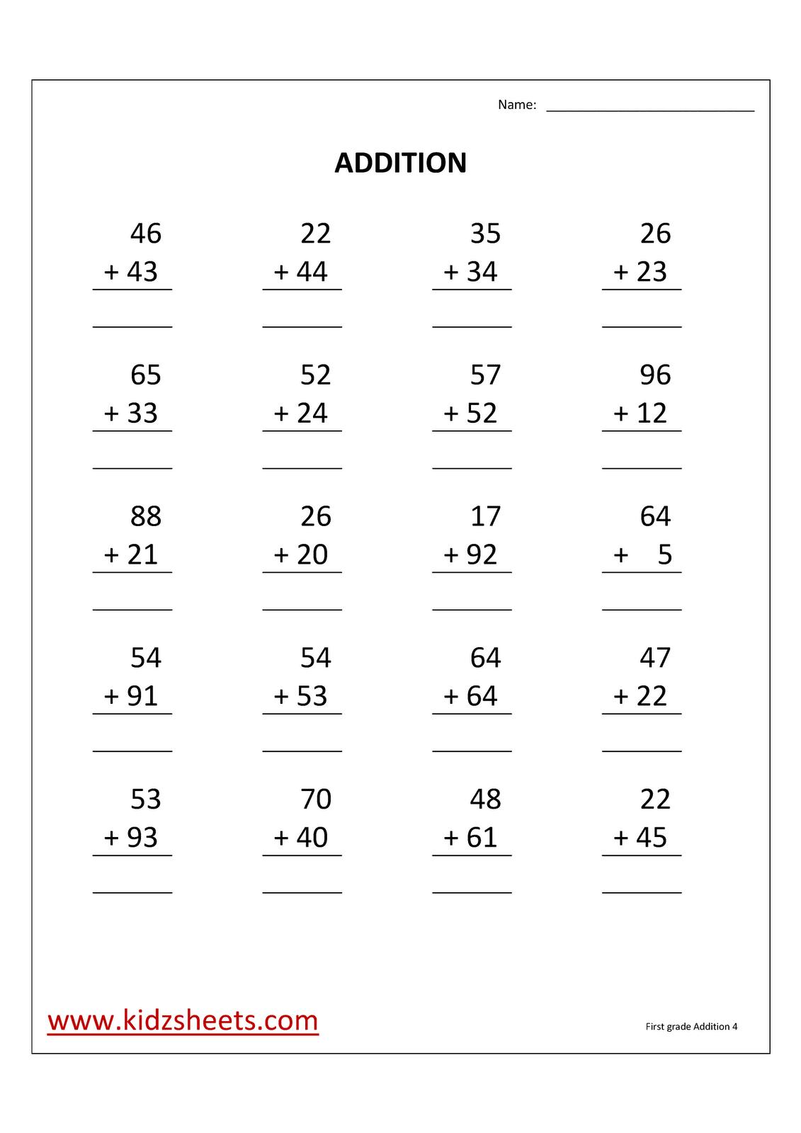 Kidz Worksheets First Grade Addition Worksheet4