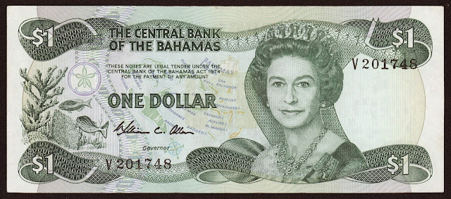 Bahamas Banknotes One Dollar note 1984 Queen Elizabeth II