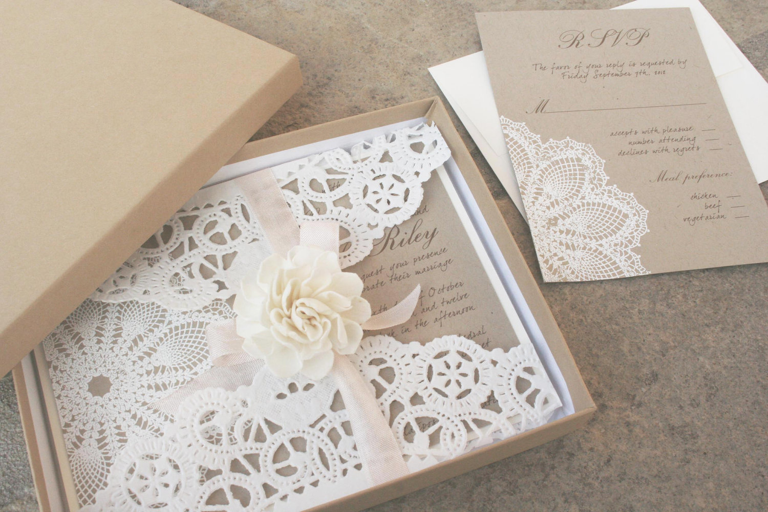 Wedding Invitation Picture: Classic Wedding Invitations: Lace Wedding Invitations