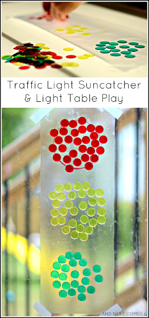 Transportation themed light table activity for kids & a traffic light suncatcher craft from And Next Comes L