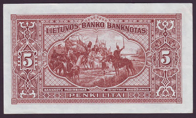 LITHUANIA currency 5 Litai banknote