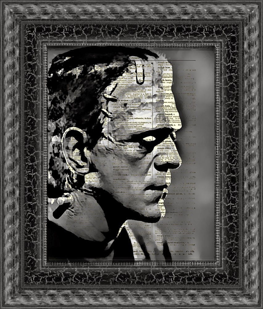 21-Frankenstein-Monster-Belle-Old-Books-and-Dictionaries-in-Re-Imagination-Prints-www-designstack-co
