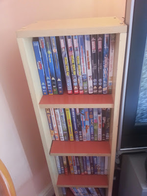 DVD shelf unit, made from an old blanket box