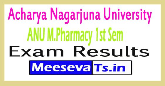 Acharya Nagarjuna University M.Pharmacy 1st Sem Results 2017