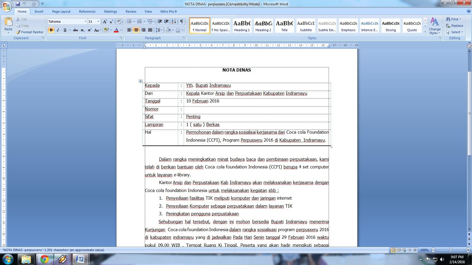 Cara Membuat Nota Dinas Staff Blogger