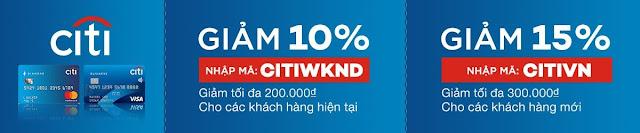 GIẢM TỚI 15% TỐI ĐA 300.000VND CHO CÁC CHỦ THẺ TÍN DỤNG CITIBANK