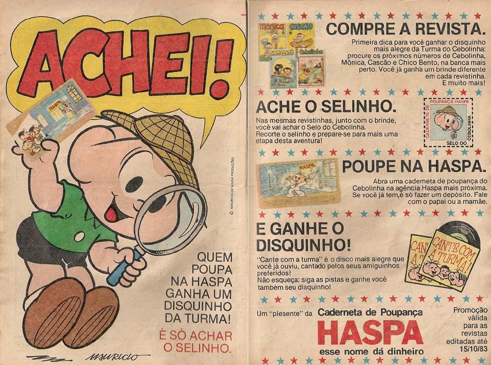 Propaganda antiga do Banco Haspa nos anos 80 com ação promocional conjunta com a Turma da Mônica