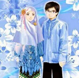 gambar  kartun pasangan muslim dan muslimah