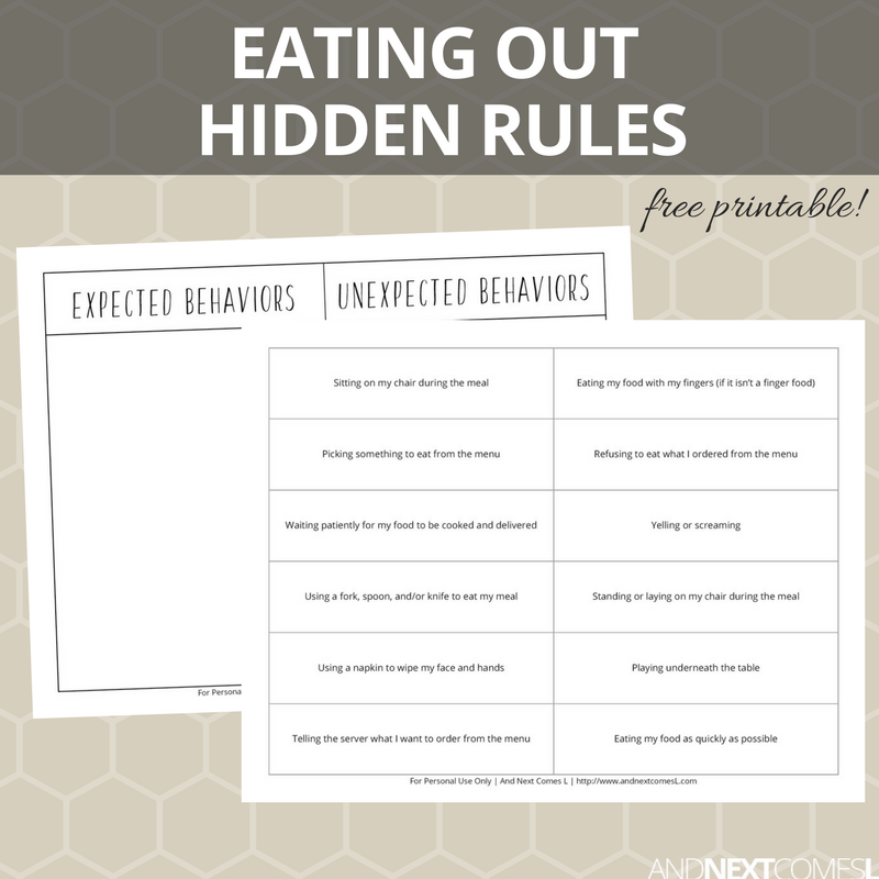 eating at a restaurant hidden rules social skills printable and