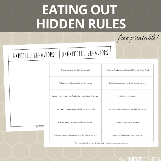 Free hidden rules social skills printable about eating out at a restaurant from And Next Comes L