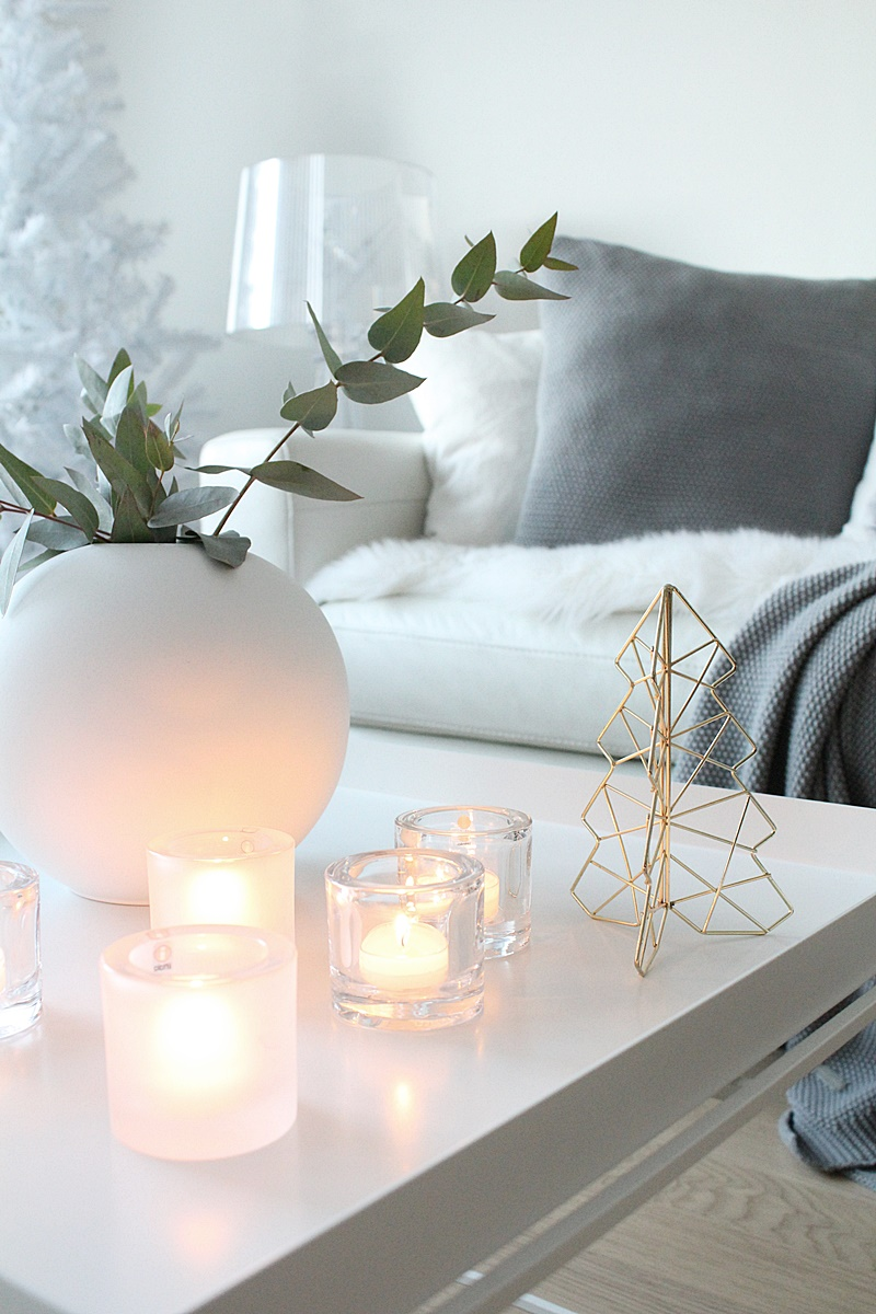 christmas decor in white and grey
