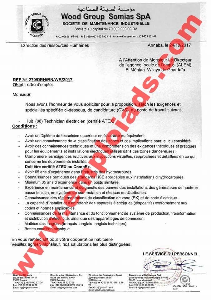 اعلان توظيف بالمؤسسة الصيانة الصناعية Wood Group Somias ولاية غرداية اكتوبر 2017