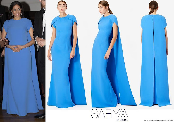 Duchess of Sussex wore Safiyaa London Ginkgo Cape Dress