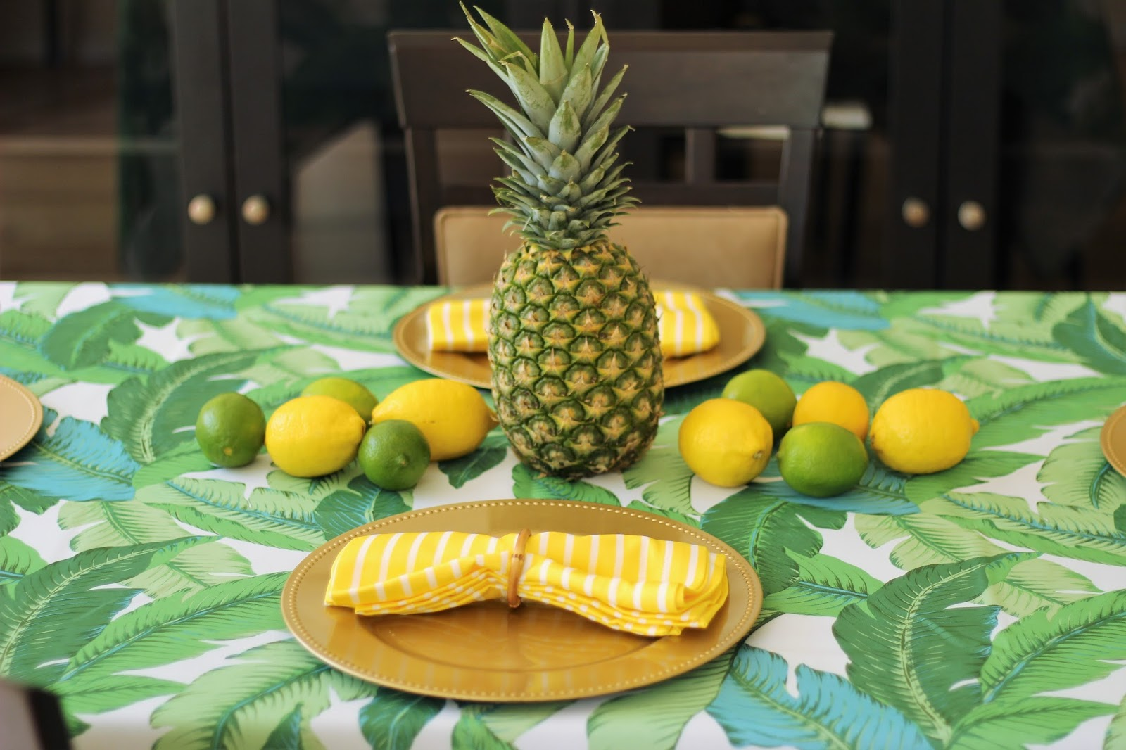 fruit centerpiece for a tropical table setting
