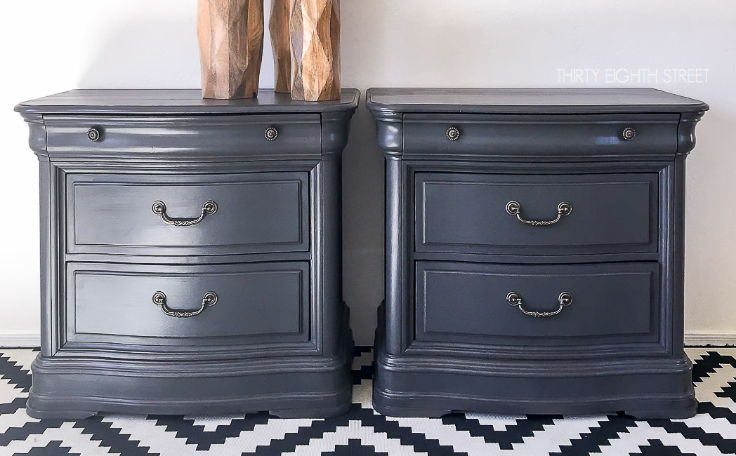 grey painted furnitureGrey Painted Nightstands  Thirty Eighth Street
