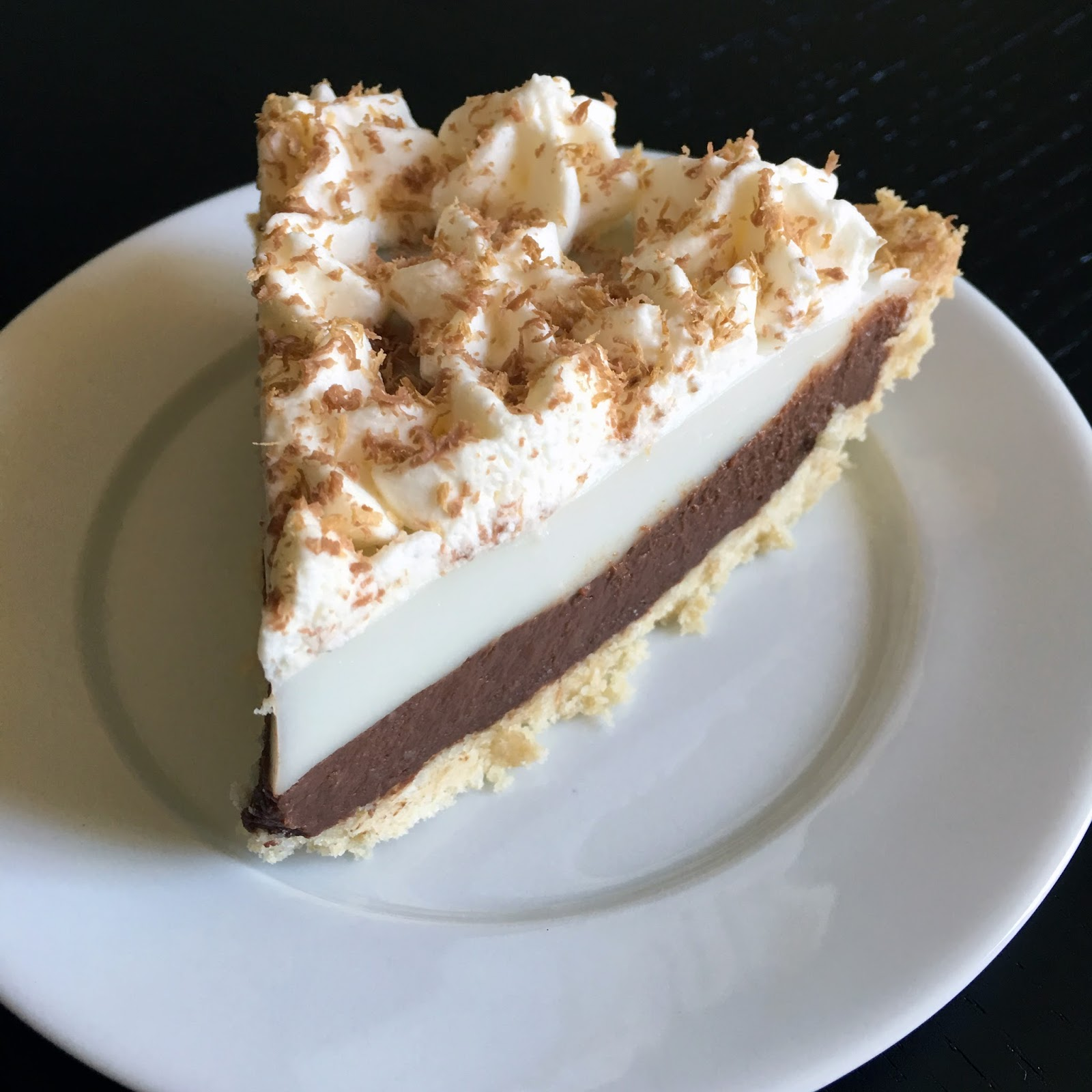 Chocolate Haupia Pie with Toasted Coconut Crust