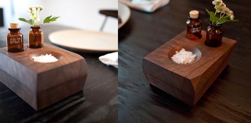 Artesanía y diseño de madera para los enseres de la cocina y la mesa