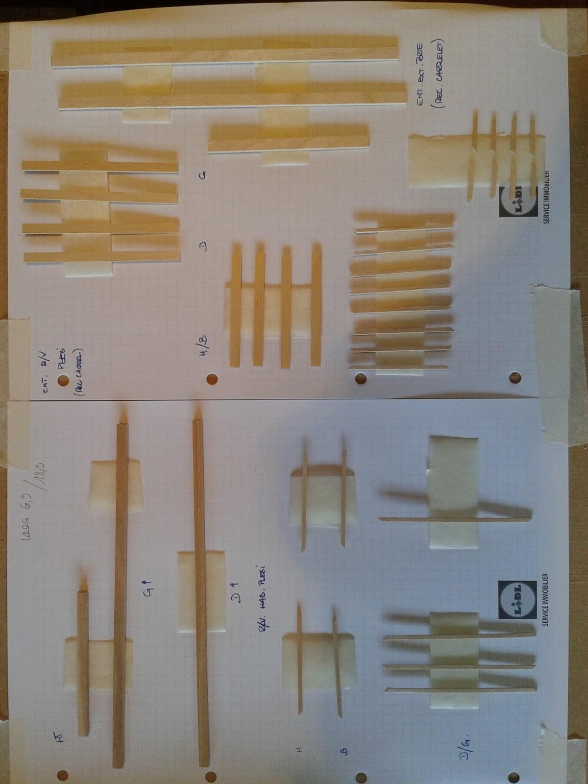 9 découpe baguettes de 1x5 mm pour recouvrement de lencadrement intérieur en plexi 10 découpe baguettes de 2x6 mm pour lencadrement extérieur de la
