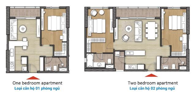 Loại căn hộ 1 phòng ngủ và 2 phòng ngủ Diamond Island - Đảo Kim Cương quận 2.