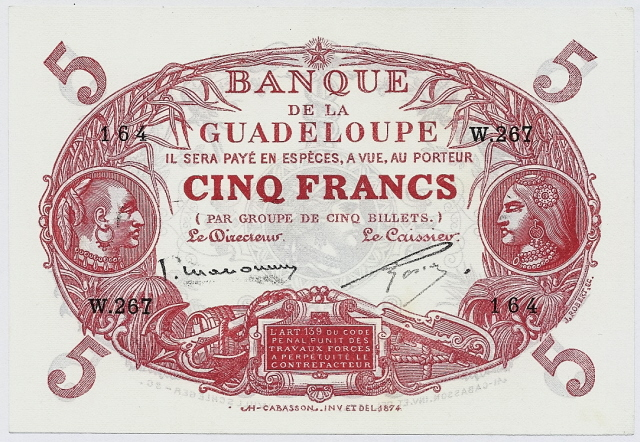 Currency money Guadeloupe 5 Francs banknote collection