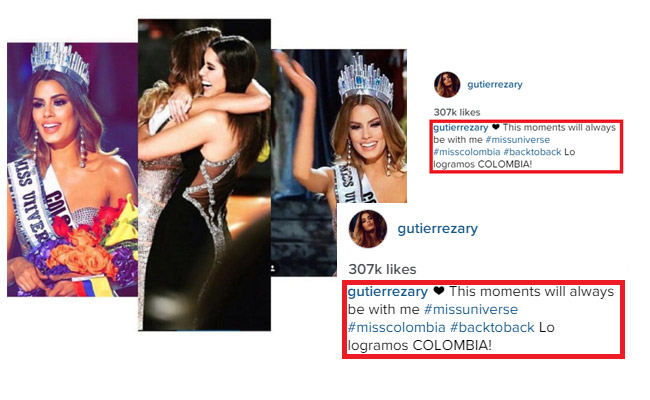 Miss Colombia Posts a Photo on Instagram Wearing the Crown and Guess What is her Caption