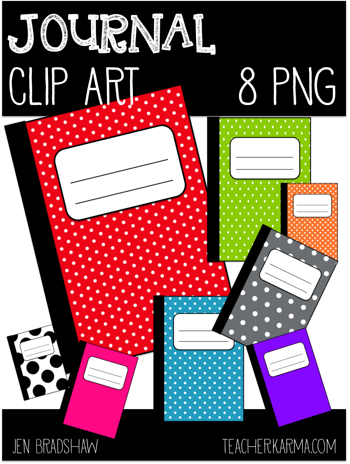 Classroom Freebies Too Polka Dotted Journal Clip Art