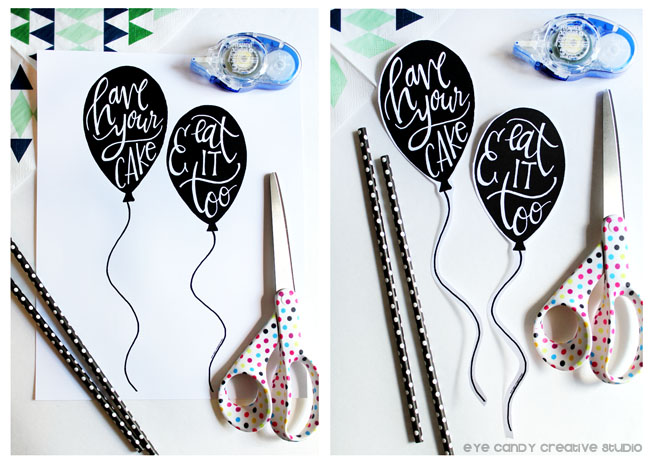 have your cake & eat it too, hand lettering, Tombow adhesive, DIY cake topper