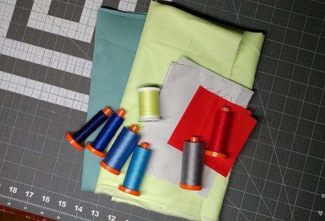 Fabric nd thread pull for mini map quilt