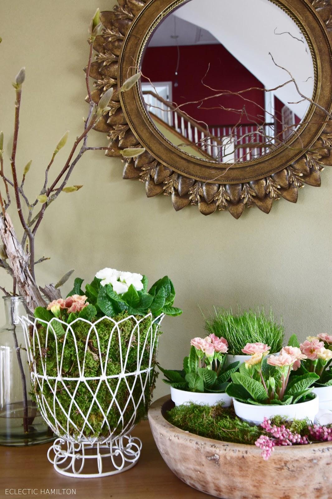 Dekoideen Frühling für Sideboard und Konsole Wohnzimmer. Natürliche Deko, DIY, Dekoration