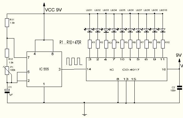 Secuenciador de luces con el CD4017 fácil de hacer.