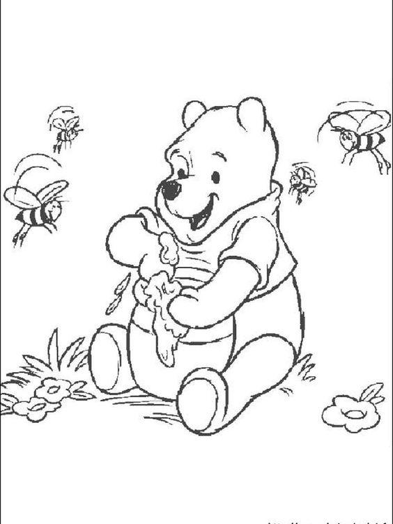 Tranh cho bé tô màu gấu Pooh 1