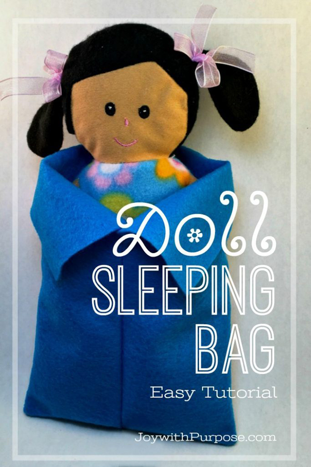 Learn how to make a simple sleeping bag for a rag doll. Easy tutorial by Joy with Purpose