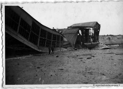 Aulnat, Puy-de-Dôme, bombardements  avril 1944, photo noir et blanc.