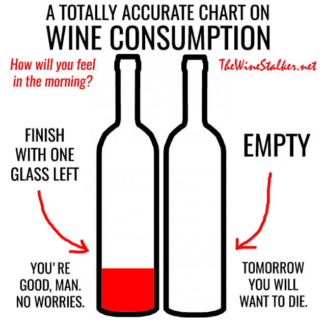 A totally accurate chart on wine consumption: How will I feel in the morning?