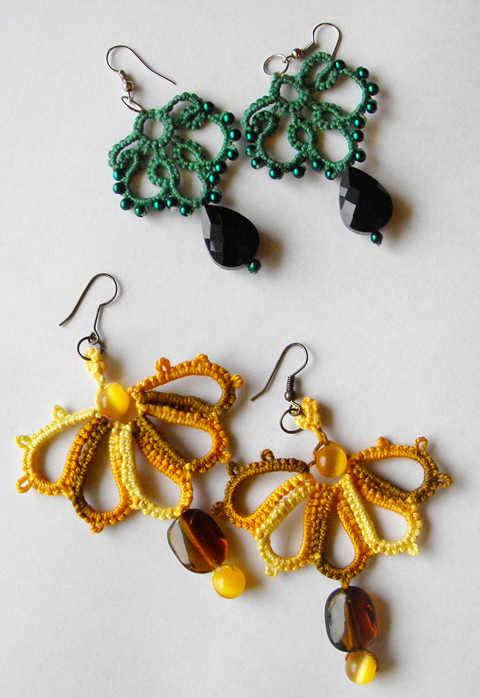 tatting pendant earrings