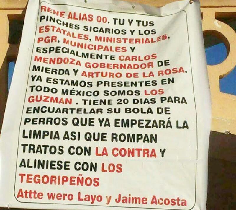 """Somos """"Los Guzmán"""" ya estamos en todo México tienen 20 días para para encuartelar a tu bola de perros en narcomanta amenazan a """"El Rene 00"""" en BCS"""