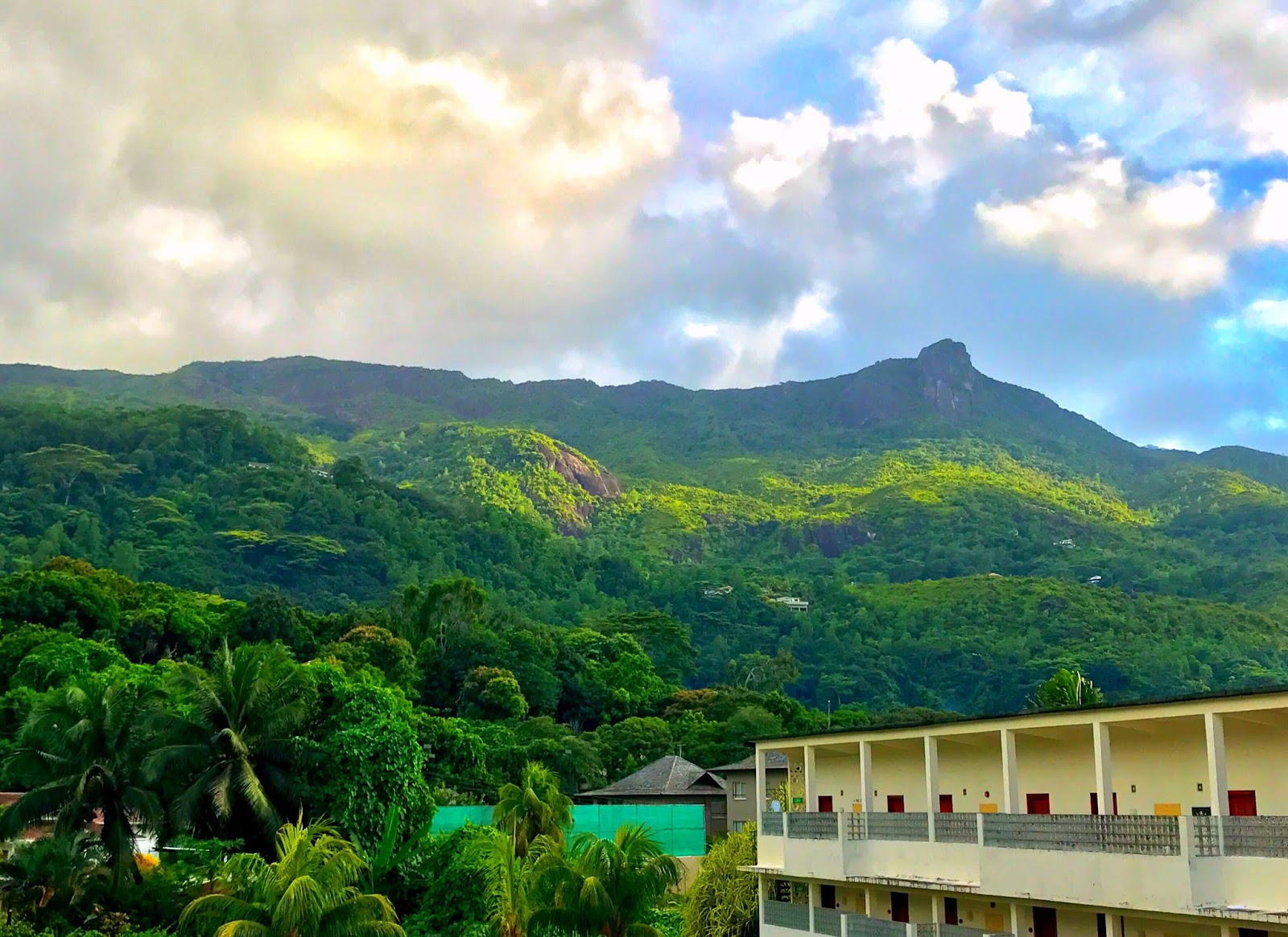 Cloudy Mountain View from Berjaya Beau Vallon Bay Resort