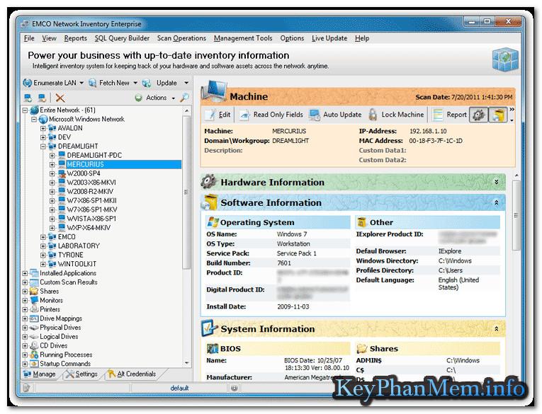 Download EMCO Network Inventory Enterprise 5.8.18.99921 Full Key, Phần mềm hỗ trợ quản trị và báo cáo mạng máy tính