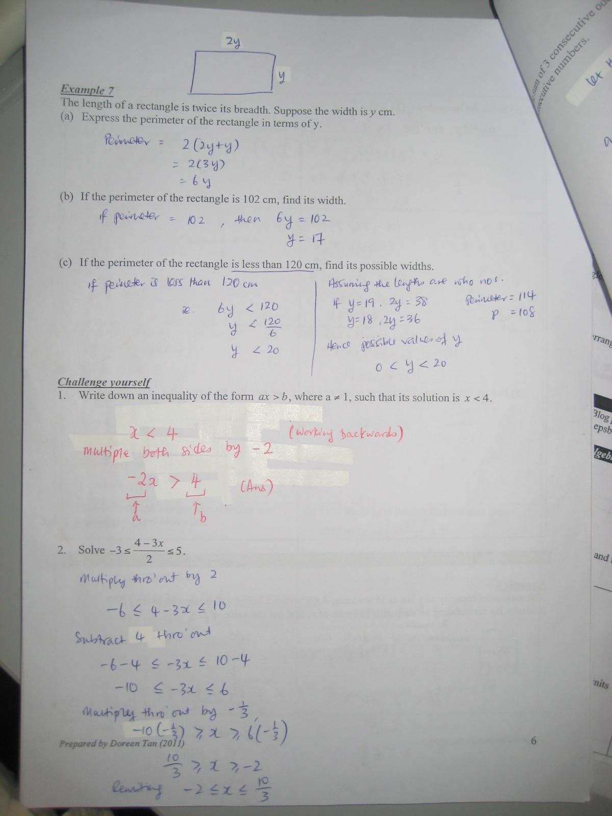 S1 01 Maths Blog Inequalities Worksheet Challenge
