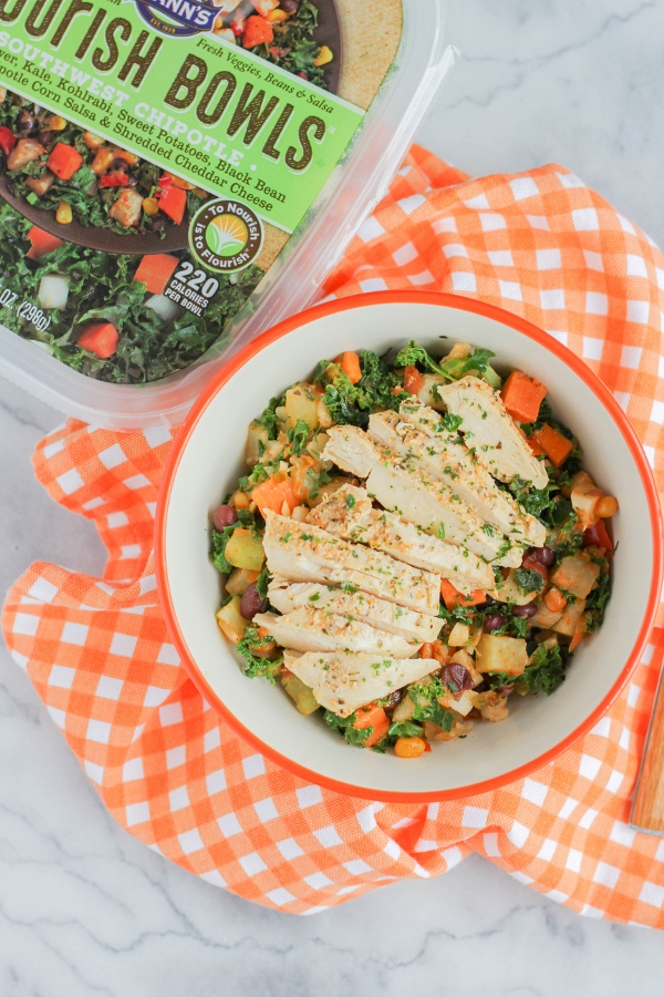 Think you can't have a healthy and nutritious lunch that's also quick and easy? Think again! This hearty Southwest Chipotle Grilled Chicken Bowl is full of veggies, black beans, and chicken, and will keep you full all afternoon long!