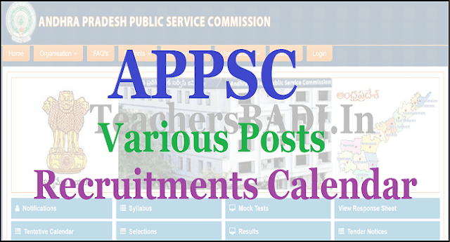 APPSC Recruitments dates, Recruitment Calendar, Recruitments Exam dates