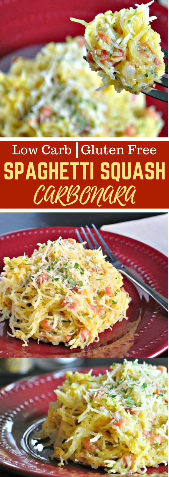 SPAGHETTI SQUASH CARBONARA – LOW CARB, GLUTEN FREE #lowcarb #parmesan