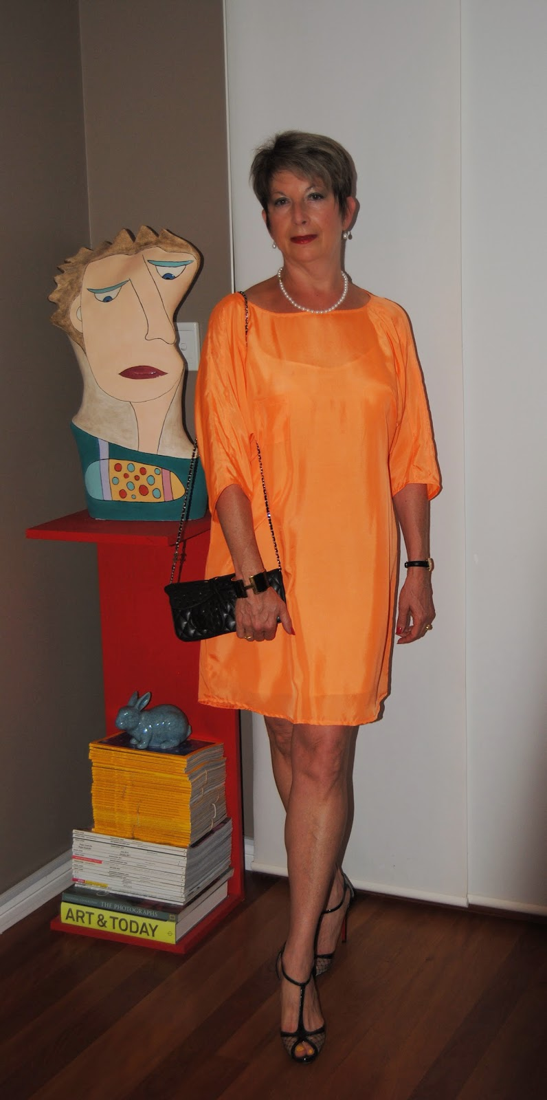 color blocking, orange shift dress
