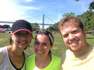 My husband, friend, and me at the George Washington Bridge run