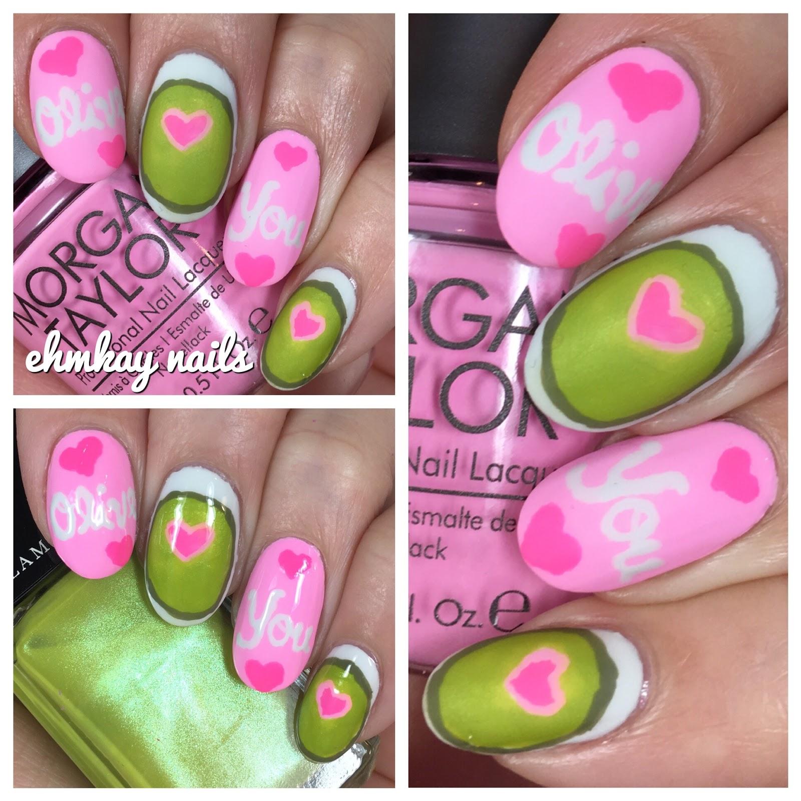 Valentine S Day Nails Art: Ehmkay Nails: Olive You Valentine's Day Nail Art