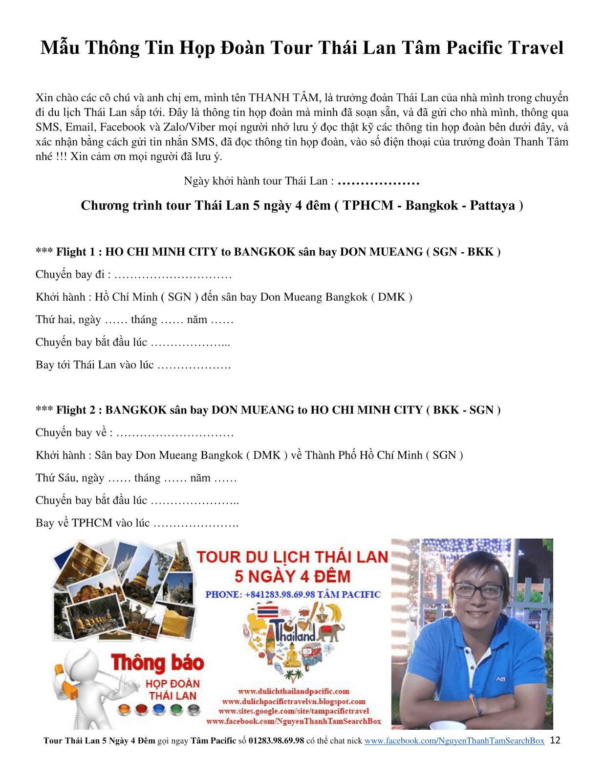 Báo giá tour du lịch Thái Lan 5 ngày 4 đêm giá rẻ