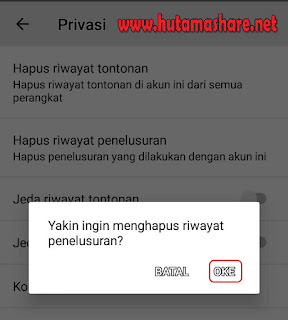 Konfirmasi Hapus Riwayat Penelusuran Youtube