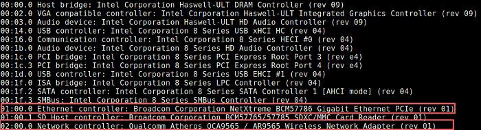 comando de rede lspci para interface de rede