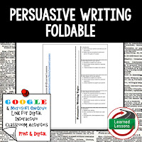 Persuasive Writing Foldable, Persuasive Writing Google Classroom, Digital Learning, 1:1